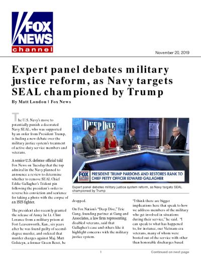 Expert panel debates military justice reform, as Navy targets SEAL championed by Trump