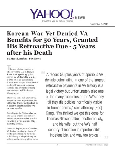 Korean War Vet Denied VA Benefits for 50 Years, Granted His Retroactive Due - 5 Years after his Death