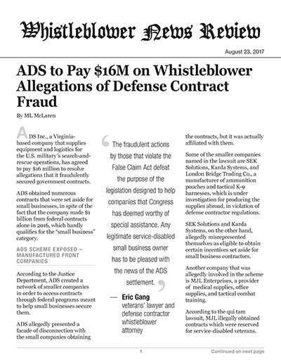 ADS to Pay $16M on Whistleblower Allegations of Defense Contract Fraud