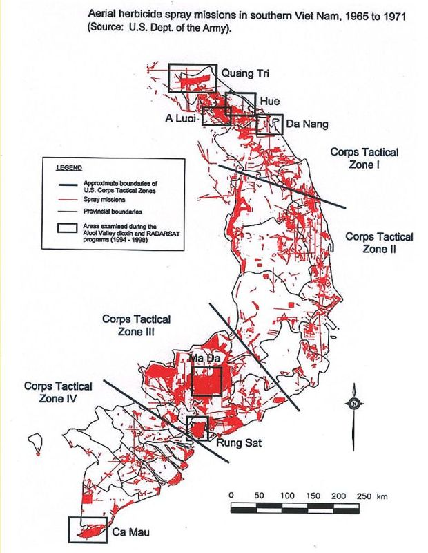 Map of Aerial Herbicide Spray Missions in Southern Vietnam